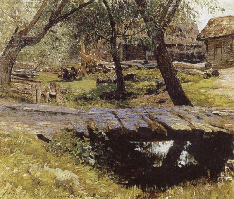Isaac Levitan Little Bridge,Village of Savinskaya,Study oil painting picture