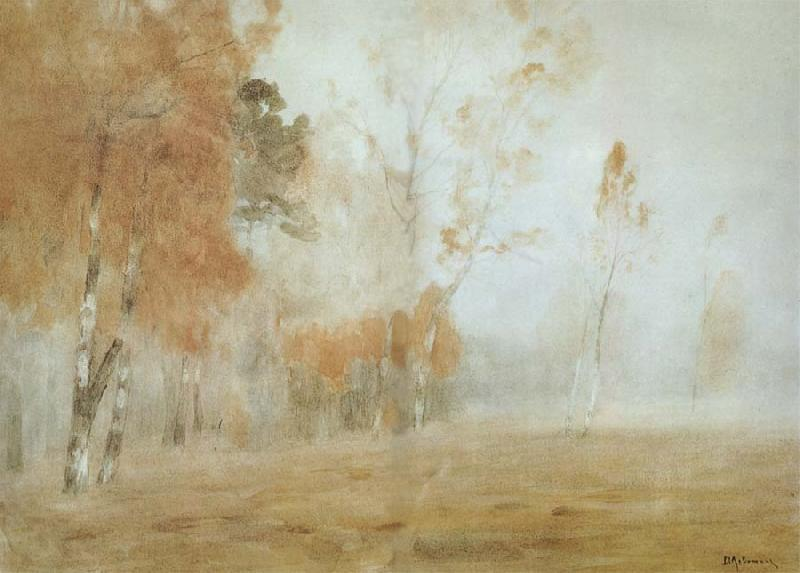 Isaac Levitan Mist,Autumn oil painting picture