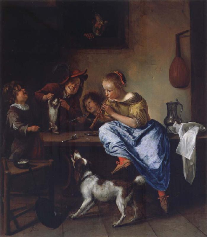 Jan Steen Children teaching a cat to dance oil painting picture