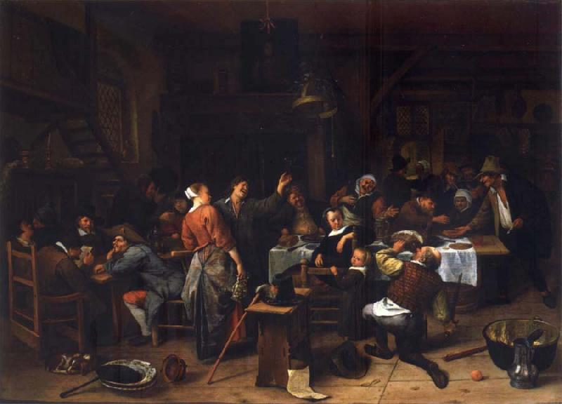 Jan Steen Prince-s Day,Interior of an inn with a company celebration the birth of Prince William III oil painting picture