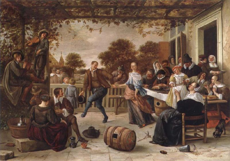 Jan Steen Dancing couple on a terrace oil painting picture