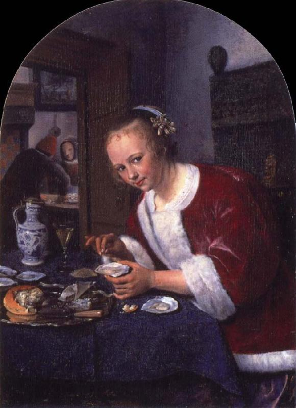 Jan Steen Girl offering oysters oil painting picture