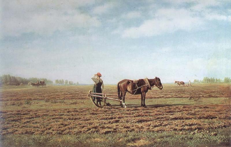 Mikhail Klodt In the Ploughed Field oil painting picture