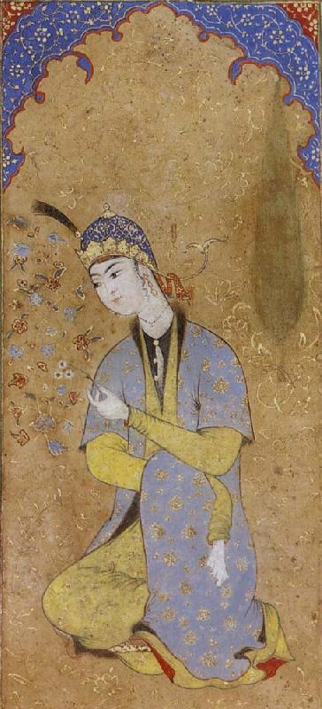Muhammadi of Herat The Lady Beloved sits framed within the prayer niche oil painting image