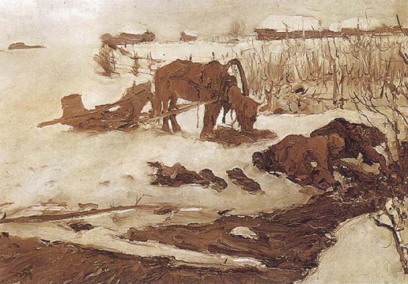Valentin Serov Rinsing Clothes,Study oil painting picture