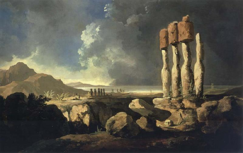 unknow artist A View of the Monumens of Easter Isaland Rapanui oil painting picture