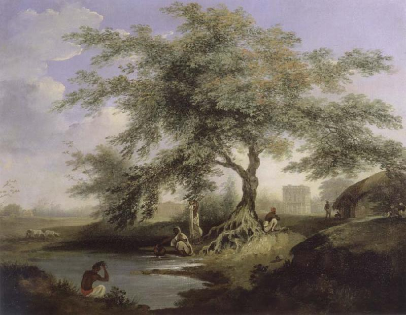 unknow artist Natives Drawing Water form a pond with Warren Hastings-House at Alipur in the Distance oil painting picture