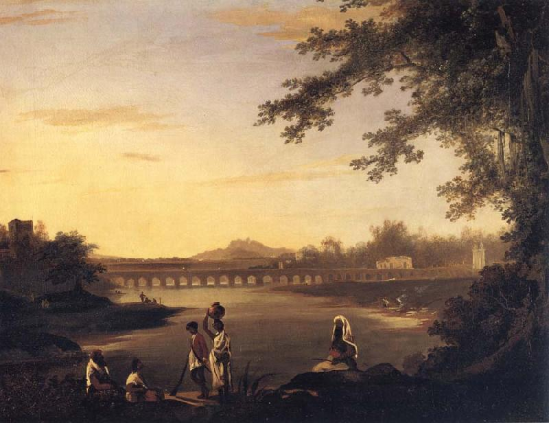unknow artist A View of Marmalong Bridge with a Sepoy and Natives in the Foreground oil painting picture