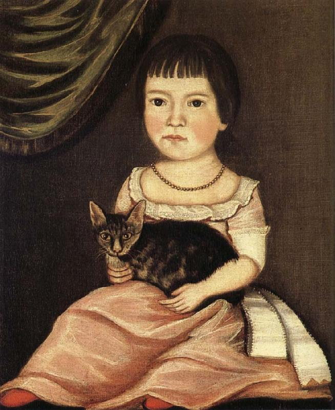 Beardsley Limner Child Posing with Cat oil painting image