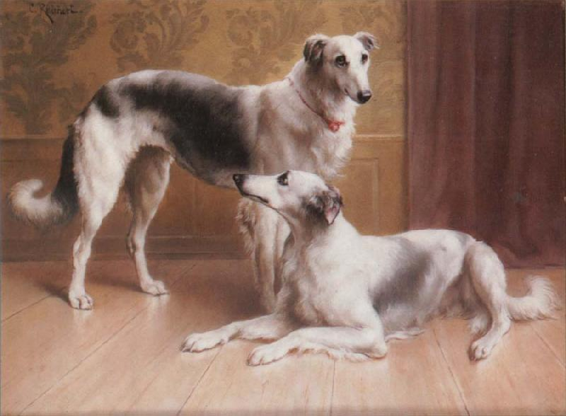 Carl Reichert Hounds in an Interior oil painting image