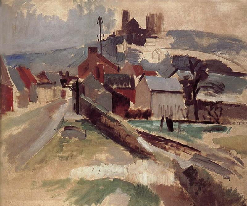 Delaunay, Robert Study of Road and church oil painting image