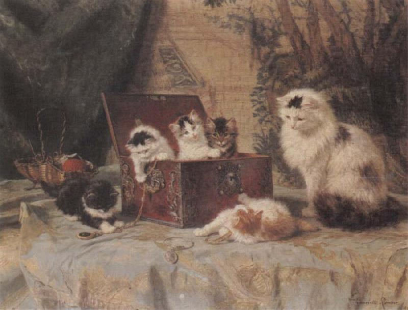 Henriette Ronner At Play oil painting image