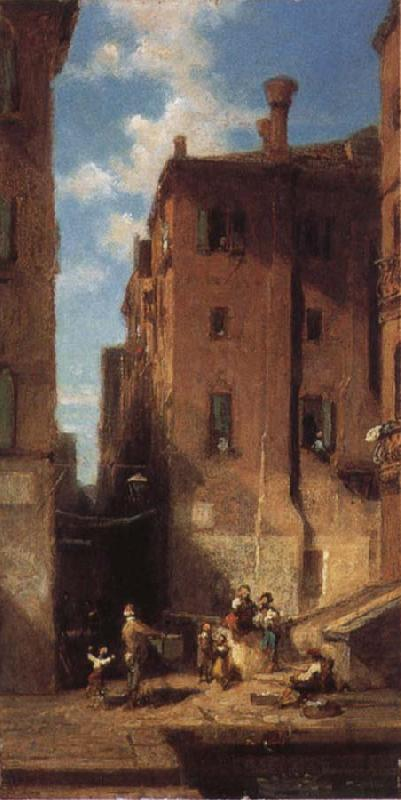 Carl Spitzweg Street in Venice oil painting image
