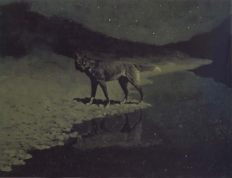 Frederic Remington Moonlight,Wolf oil painting image