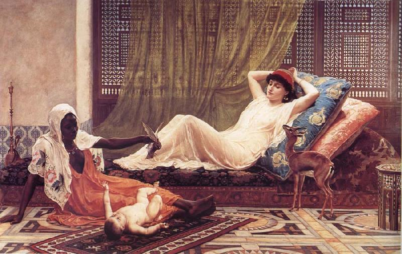 Frederick Goodall A New Attraction in t he Harem oil painting image