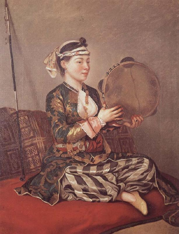Jean-Etienne Liotard Girl in Turkish Costume with Tambourine oil painting image