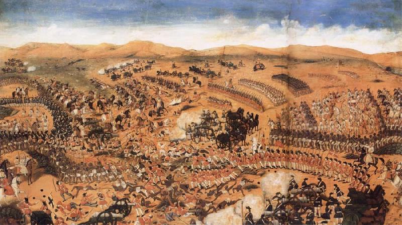Nandkishor Soni The Battlle of the British and their Allies against the French and their Confederates at Condore,Near Rajamandri oil painting image