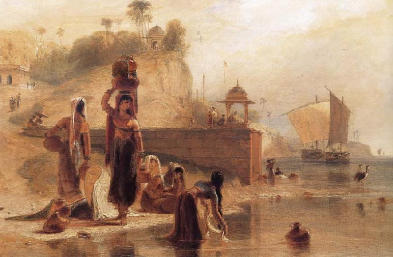 William Daniell Women Fetching Water from the River Ganges near Kara oil painting image