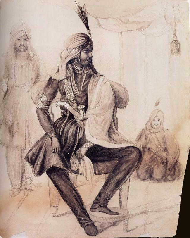 unknow artist Portrait of Hira Singh,Favorite of the Sikh Leader Ranjit Singh oil painting image