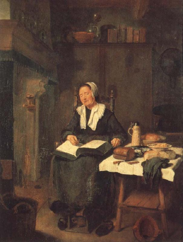 BREKELENKAM, Quiringh van A Woman Asleep by a Fire oil painting image
