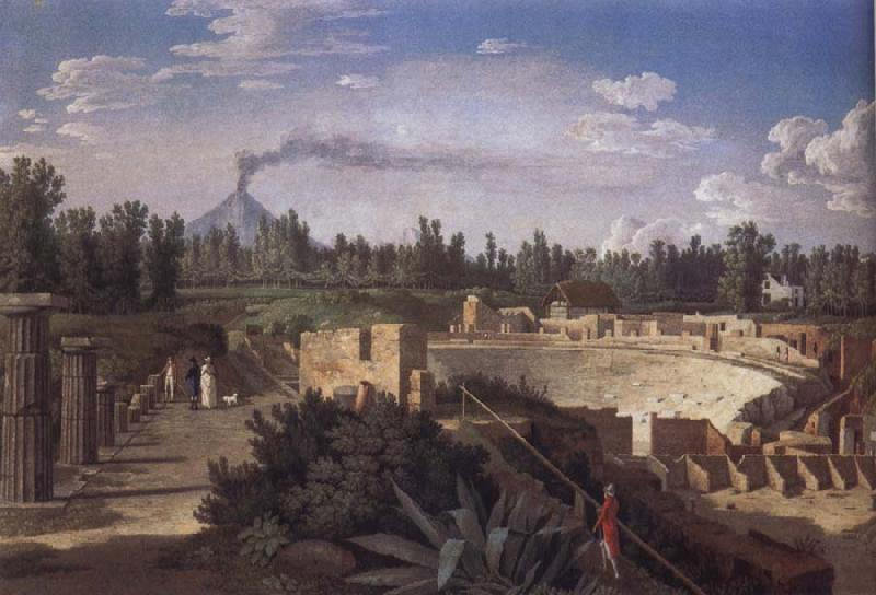 Jakob Philipp Hackert View of the Ruins of the Antique Theatre of Pompei oil painting picture