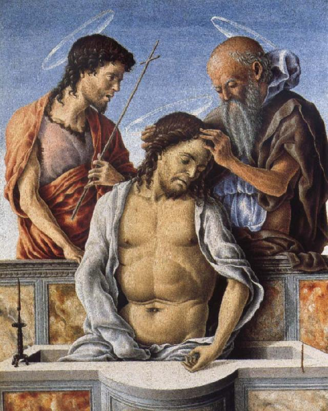 Marco Zoppo THe Dead Christ with Saint John the Baptist and Saint Jerome oil painting image
