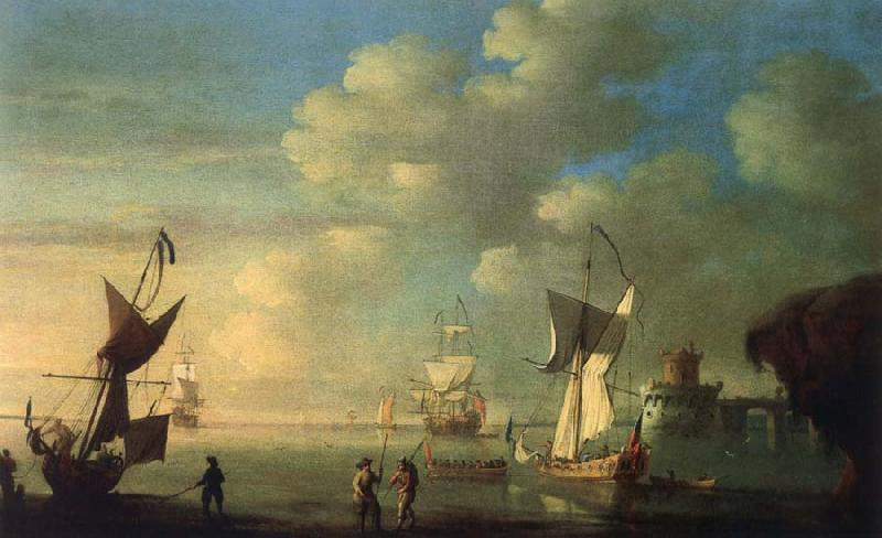 Monamy, Peter A royal yacht and other shipping off the coast oil painting image