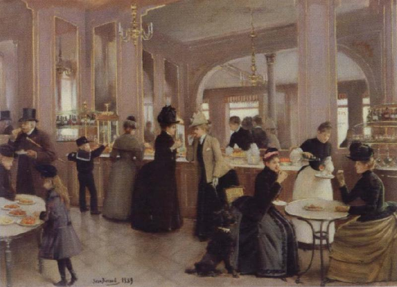 Jean Beraud the Patisserie Gloppe on the Champs-Elysees oil painting picture