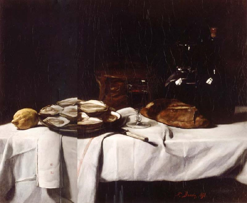 Francois Bonvin Still life with Lemon and Oysters oil painting image