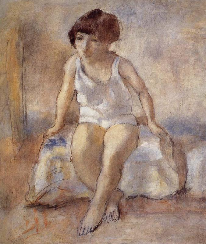 Jules Pascin The maiden wear the white underwear from French oil painting picture