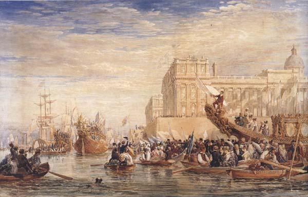 David Cox Embarkation of His Majesty George IV from Greenwich (mk47) oil painting image