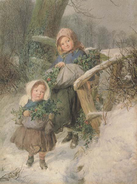 Frederic james Shields,ARWS The Holly Gatherers (mk46) oil painting image