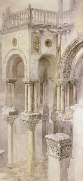 John Ruskin,HRWS The South Side of the Basilica fo St Mark's,Venice,Seen from the Loggia of the Doge's Palace (mk46) oil painting image