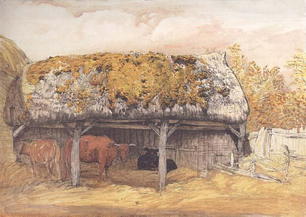 Samuel Palmer A Cow-Lodge with a Mossy Roof oil painting image
