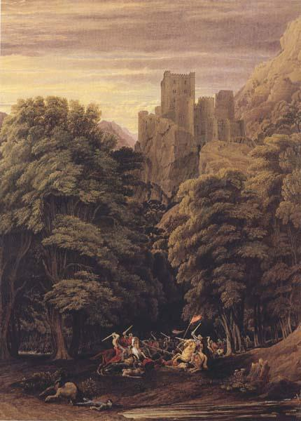 William Turner of Oxford A Scene in the vicinity of a Baronial Residence in the reign of Stephen (mk47) oil painting image