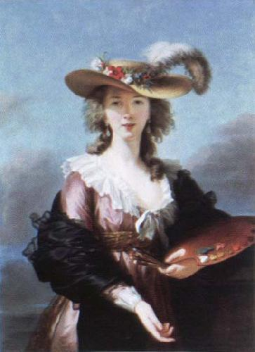 Elisabeth Louise Viegg-Le Brun self portrait in a straw hat oil painting image