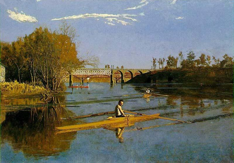 Thomas Eakins Max Schmitt in a single scull oil painting image
