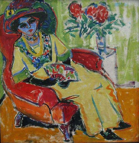 Ernst Ludwig Kirchner Sitting Woman oil painting image