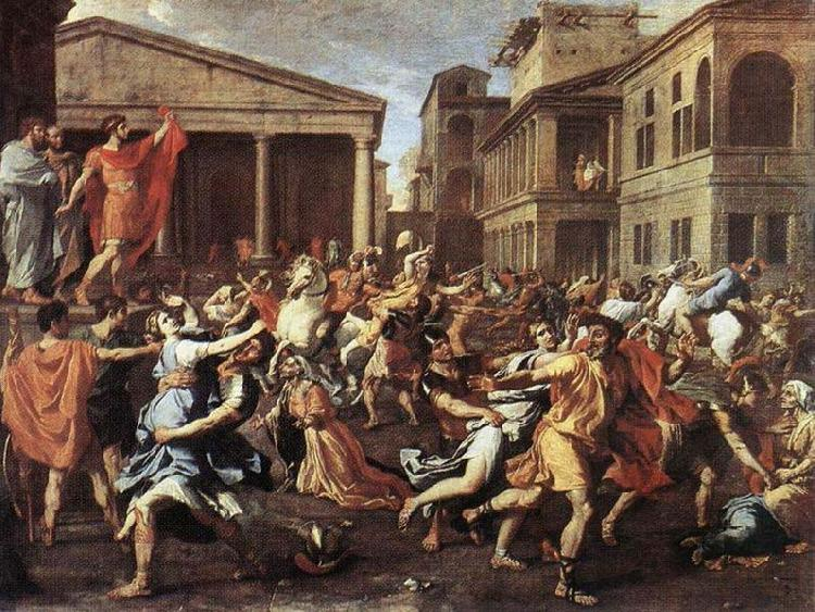 Nicolas Poussin Rape of the Sabine Women, Rome, oil painting image