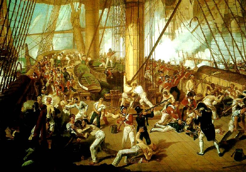Denis Dighton the battle of trafalgar oil painting image
