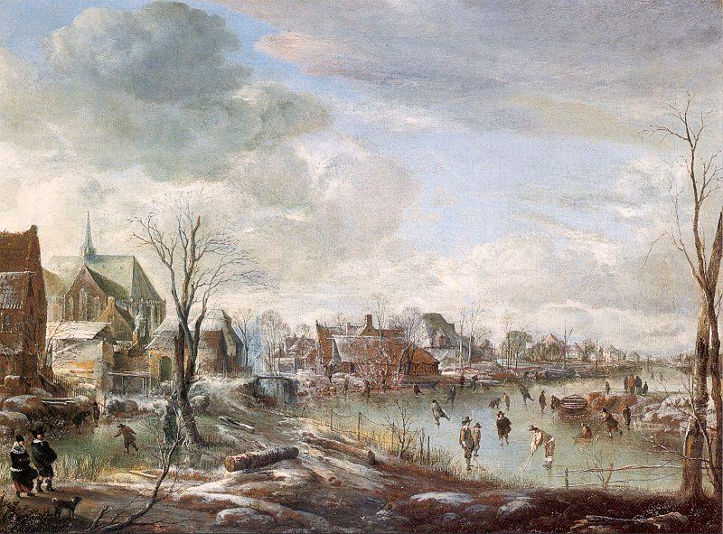 Aert van der Neer with Golfers and Skaters oil painting image