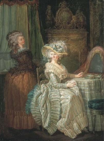 Attributed to henry pether Dame elegante a sa table de toilette avec une servante oil painting image