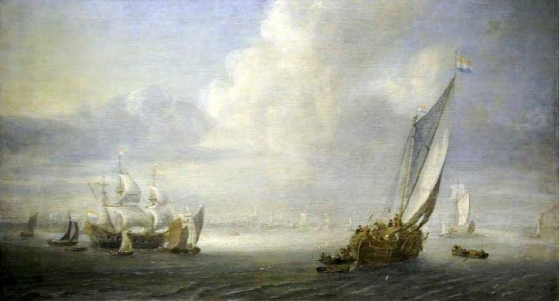 Abraham van der Hecken Seascape with a port in the background oil painting image