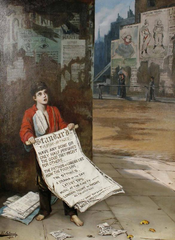 Augustus e.mulready A London news boy oil painting image