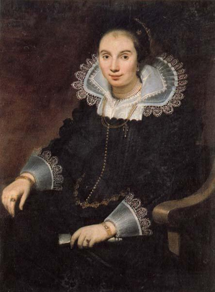 Cornelis de Vos Portrait of a Lady with a Fan oil painting image