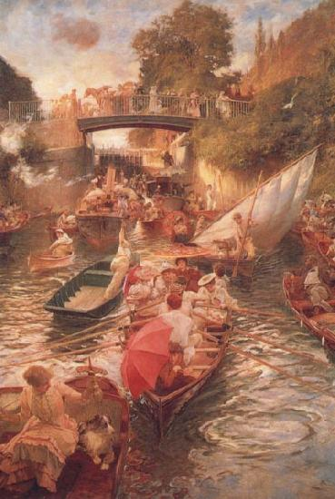 Edward john Gregory,RA.RI Boulter's Lock-Sunday Afternoon oil painting image