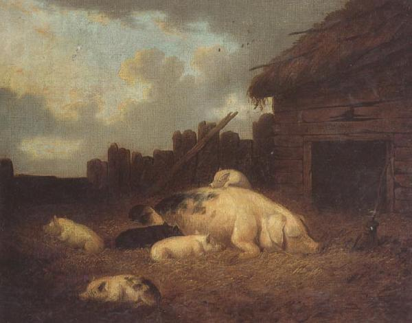 George Morland A Sow and Her Piglets in a Farmyard oil painting image