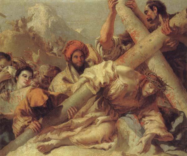 Giandomenico Tiepolo Christ Falls on the Road to Calvary oil painting image