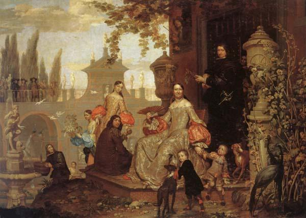 Jan Van Kessel the Younger Portrait of a Family in a Garden oil painting picture