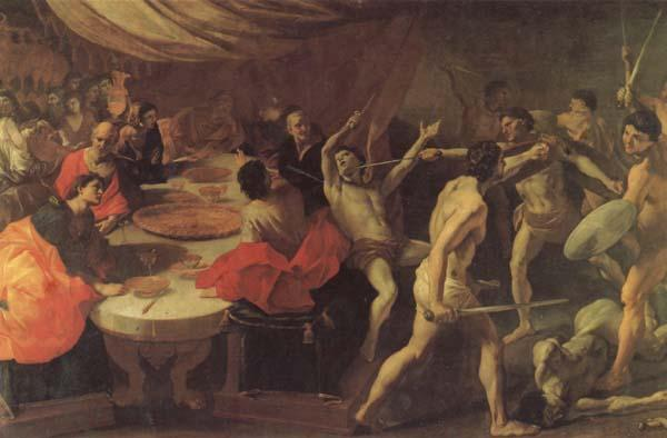 LANFRANCO, Giovanni Banquet with a Gladiatorial Contest oil painting image